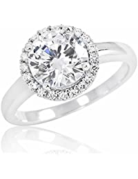 PRJewel Gorgeous 925 Sterling Silver 8mm Brilliant Cut Cubic Zirconia Ring