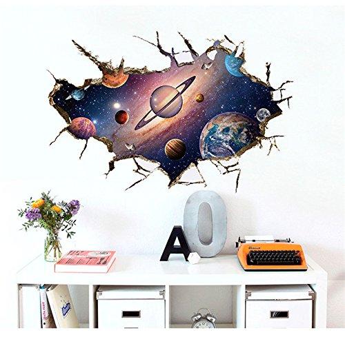 Astronauten Kindergarten Wohnzimmer Schlafzimmer Vorhang Sonnensystem Wandaufkleber Für Kinderzimmer Weltraum 3D Wand Wirkung