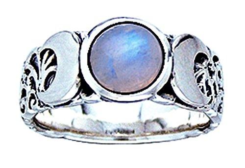 Alterras - Ring: Triple Moon Ring aus 925-Silber (Ring-Größe: Ringr. 62 (ø19,7mm; US:#10)) Mondstein Ring Größe 10