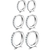 Silver Hoops Earrings for Women, 925 Sterling Silver Post Small Silver Hoop Earrings with AAA Cubic Zirconia, 3 Pairs Hypoallergenic Small Sleeper Hoops Huggie Hinged Earrings