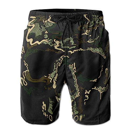 Camo Army Skull von Piraten Boardshorts Strand Shorts Badehose Herren Badeanzug XXL Camo Piraten