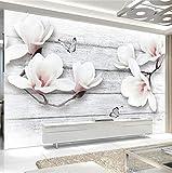 Wmbz Foto Tapete 3D Stereo Magnolia Blumen Schmetterling Holzmaserung Wandbilder Wohnzimmer Tv Sofa Hintergrund Wand Wohnkultur Tapeten-208X146Cm