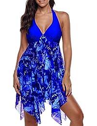 d77fd5048d4 Freshmarque Women Plus Size Deep V Neck Floral Print Swimsuit Halter  Irregular Hem Tankini Top Swimdress