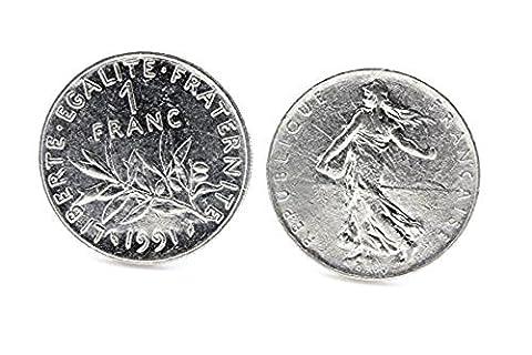 Boutons de manchettes Pièce de Monnaie Authentique