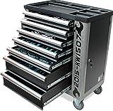 Werkzeugwagen Werkstattwagen von KRAFTWELLE 7 Schubladen komplett gefüllt mit Werkzeuge – Werkzeugkasten fahrbar mit abschließbarem Seitenfach für ein sicheres Arbeiten (Schwarz)
