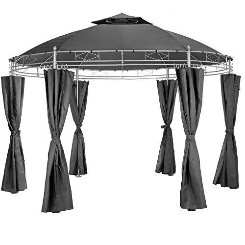 TecTake Luxus Pavillon Gartenpavillon Partyzelt Eventpavillon rund Ø 350cm | inkl. Seitenteile und...