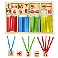 Ankush Kids Toys Counting Sticks Education Wooden Toys Building Intelligence Blocks Montessori Mathematical Wooden Box