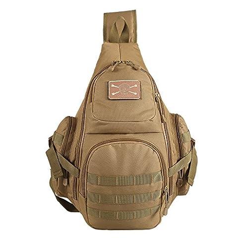Lalawow Sling Bag taktisch Rucksack Daypack Fahrradrucksack Umhängetasche Schultertasche Crossbody Bag Mit einer Packung VELCRO (Papier Bag System)