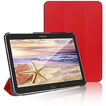 JETech® Gold Slim Fit Galaxy Tab 4 10.1 Smart Funda de PC Cuero Carcasa con Stand Función y Imán Incorporado para el Sueño/Estela para Samsung Galaxy Tab 4 10 pulgadas (Galaxy Tab 4 10.1Pulgadas, Rojo)