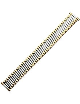 Uhrenarmband 18mm XL Metall bicolor, silber / gold - Zugband flexibel - Flexband aus Edelstahl - Ascoflex Uhrband...
