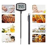 Grillthermometer, Digital Küche Thermometer mit 4.8 Zoll Langer Sonde LCD Digitaler Bildschirm Automatisch Heruntergefahren, Multifunktions für Kocht Fleisch Zucker Milch Wasser BBQ