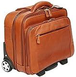Cortez - Business-Trolley mit entfernbarer Laptophülle - Kolumbianisches Echtleder - Handgepäcksgröße - Cognac