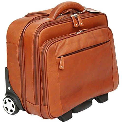 CORTEZ Business-Trolley mit entfernbarer Laptophülle - Kolumbianisches Echtleder - Handgepäcksgröße - Cognac