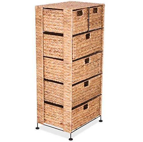 KMH®, Große Korb-Kommode mit 6 Schubladen aus Wasserhyazinthe (#204022) (Kommode 6 Möbel Schubladen Mit)