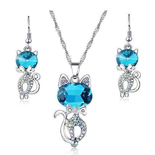 Majesto Schmuckset Halskette Anhänger Blaue Katze Kristall und Lange Ohrringe, für Damen Mutter kleines Mädchen Teenager - Geschenk Schmuck Zubehör 18 Karat - Junioren Kostüm
