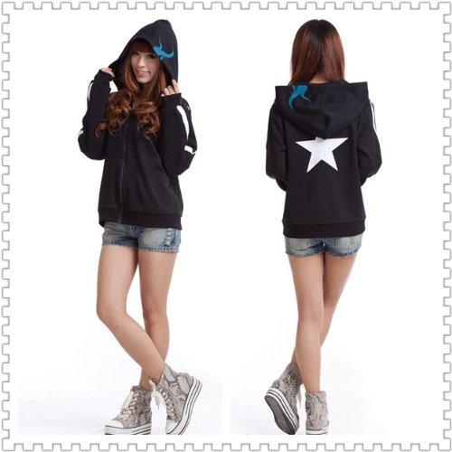 Rock Kostüm Cosplay Black Shooter - Sunkee Black Rock Shooter Cosplay Kostüm Kapuzenpullover Jacke, Größe XXL :(Höhe 172-175cm,Gewicht 65-72kg)