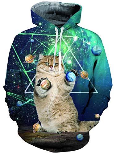Loveternal Unisex 3D Druck Hoodies Galaxy Katze Kapuzenpullover Langarm Tops Leichte Sweatshirts Mit Taschen S -