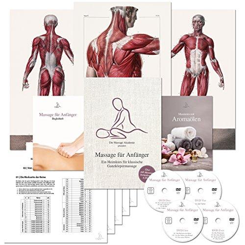 Massage für Anfänger: Ein Heimkurs für klassische Ganzkörpermassage. Der Massage-Kurs speziell für das Massieren-Lernen zu Hause. (Über 440 Massage-Techniken auf 4 DVDs + 3 Poster + 2 Booklets + 11 Checklisten + Online-Stream) Lehrvideo Partner-Massage