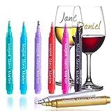 InnoBeta Magink 8er-Pack metallic Marker Pens Weinglas-Marker, radierbar, ungiftig, schnelltrocknend, Alternative für Weinglasschmuck, Am besten für Abendessen, Party, Hochzeit, Banquette, Bars