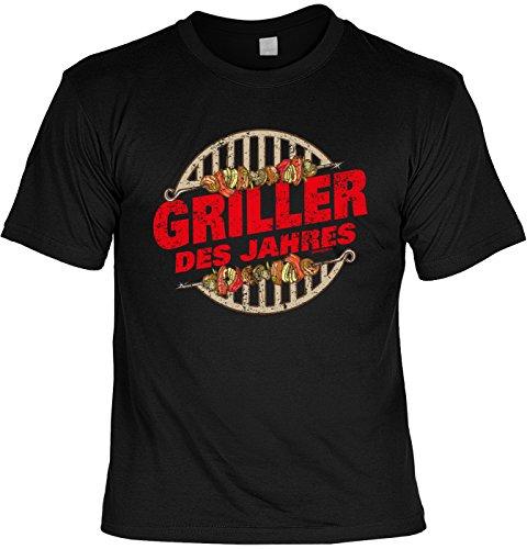 T-Shirt zum Grillen Geschenkidee T-Shirt Griller des Jahres Grill Party Geschenk zur Grillsaison Schwarz