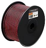 Manax SC2075RB-100 Lautpsrecherkabel 2x0,75 mm² CCA (Boxenkabel/Audiokabel), Spule 100 m, rot/schwarz