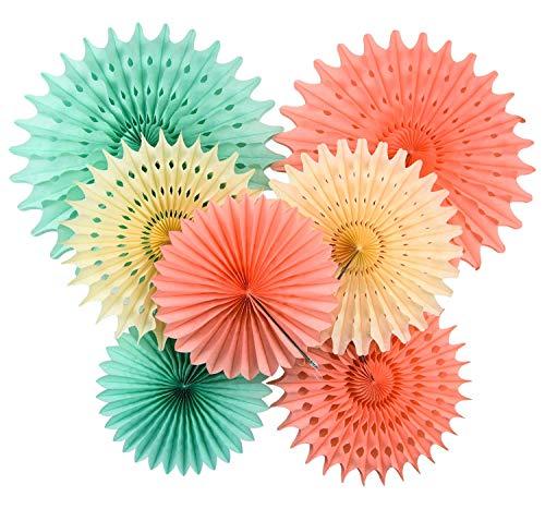 Furuix Babyparty Deko Deko-Set Seidenpapier-Blumen, Cremefarben, Mintgrün, Pfirsich für Babypartys, Geburtstage, Hochzeiten und Partys, Papier, Mint Cream Peach Babyparty Mädchen