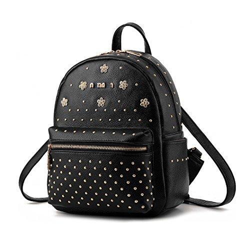 Keshi Pu neuer Stil Damen accessories hohe Qualität Einfache Tasche Schultertasche Freizeitrucksack Tasche Rucksäcke Schwarz