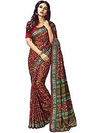 AppleCreation Women's Silk Saree With Blouse Piece (Pashmina Silk Sarees_Ksmr19002A_Red)