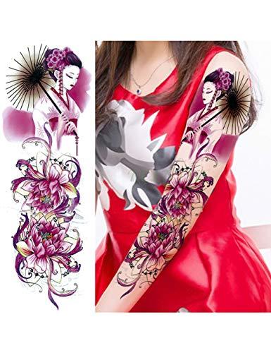 Astty adesivo tatuaggio impermeabile autoadesivo del tatuaggio temporaneo carpa pesce fiore braccio pieno falso tatto flash manica tatoo di grandi dimensioni per le donne degli uomini, verde chiaro