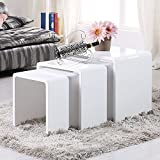 Uenjoy High Gloss Nest of 3 Table White Coffee Table Side Table Living Room