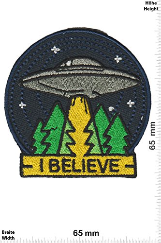 Patch-Iron-I Believe - UFO - Alien - - Fun - Alien - Iron On Patches - Aufnäher Embleme Bügelbild Aufbügler