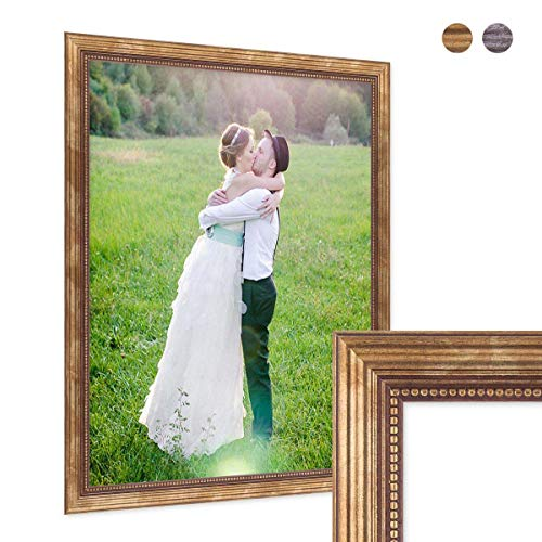 PHOTOLINI Bilderrahmen 40x60 cm Gold Barock Antik Massivholz mit Glasscheibe und Zubehör/Fotorahmen/Barock-Rahmen