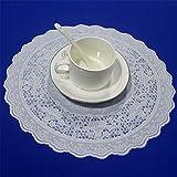 Molre-Yan wasserdichte Tischdeckchen mit Spitze, rund, für Esszimmer/Küche, 4 Stück, Durchmesser 30 cm. weiß