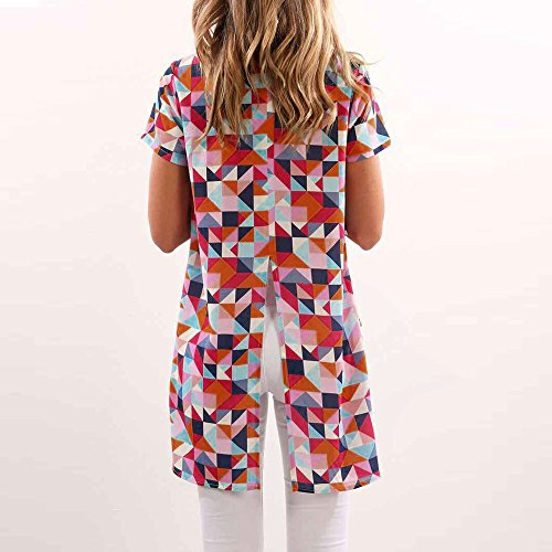 Longra Donna Maglietta a fessura per stampa a colori a triangolo Multicolore