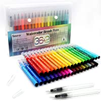Colouring Pens 36 Pcs Art Supplies Watercolour Brush Pens for Colouring Books DIY Sketching Bullet Journal Calligraphy Painting with 2 Water Paintbrush Felt Tip Pen