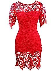 Molly Mujer Manga Corto Con Cuello Ronda Encaje Vestido Clubwear S Rojo