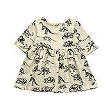 YWLINK Kleinkind MäDchen Tier Karikatur-Dinosaurier-Druck Sun Kleider Kleidung Outfits Kurze ÄRmel Kleiden(Beige,Größe: 12M)