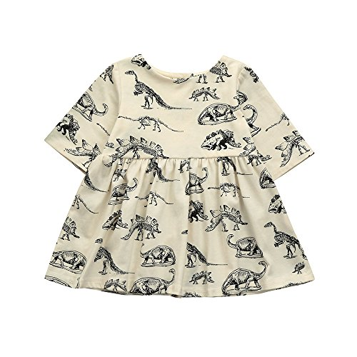 YWLINK Kleinkind MäDchen Tier Karikatur-Dinosaurier-Druck Sun Kleider Kleidung Outfits Kurze ÄRmel Kleiden(Beige,Größe: ()
