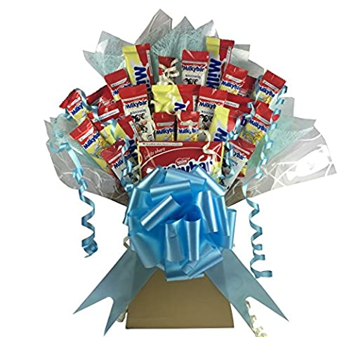 Milky Bar XL Chocolate Bouquet 24 Piece Tree Explosion Gift Hamper Selection Box - Perfect Gift (Blue)