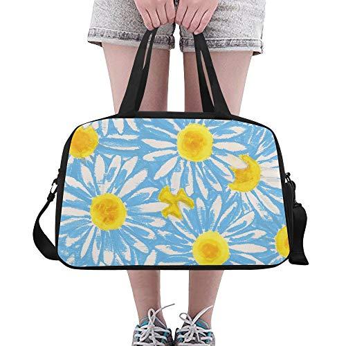 Oxeye Daisy Floral schöne Blume benutzerdefinierte große Yoga Gym Totes Fitness Handtaschen Reise Seesäcke mit Schultergurt Schuhbeutel für Übung Sport Gepäck für Mädchen Herren Damen Outdoor (Daisy Ox Eye)