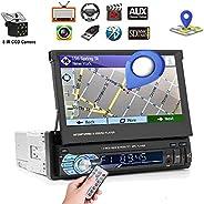 Podofo Autoradio mit Navi und Bluetooth, 1din GPS Radio mit Mirrorlink für Android, 7 Zoll Touchscreen Bildschirm Digital Me