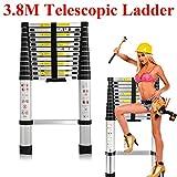 3.8M/12.5Ft Telescopic Telescoping Ladder Compact Ladder Tall Ladder DIY Aluminum Alloy Lightweight Portable