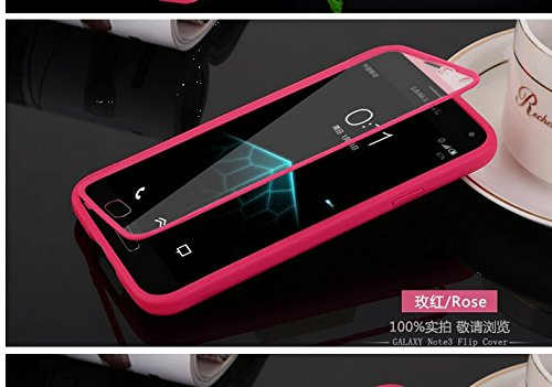 Coque Samsung Galaxy Note 3 N9000 Etui,Vandot Ultra Mince Housse Samsung Galaxy Note 3 N9000 Silicone Transparent Case pour Samsung Galaxy Note 3 N9000 Coque de Protection en TPU avec Absorption de Ch Flip Red