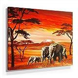 Mia Morro Afrika Elefanten Bild A250, 1 Teil 50x50cm Leinwand auf Holzrahmen aufgespannt, FineArt Print, UV-stabil und wasserfest, Kunstdruck für Büro oder Wohnzimmer, Deko Bild