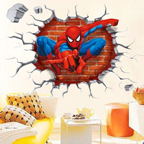 Jiahui Wandaufkleber Spiderman 3D Cracked Kinder Motto Art Boy Room Wall Sticker Home Decal, Peel and Stick Wall Sticker für Kinderzimmer Wanddekoration