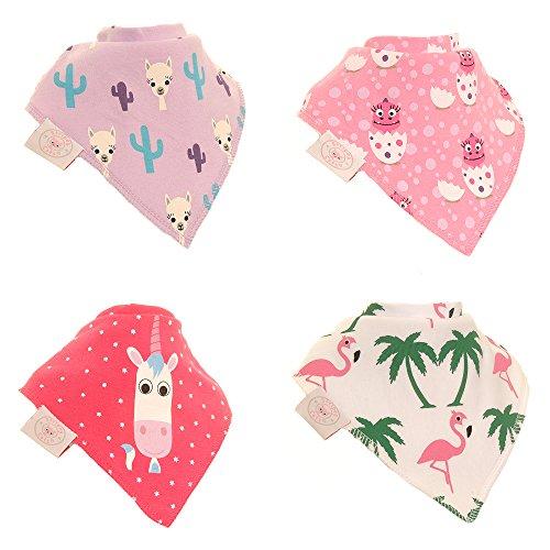 Zippy Fun Babero de bebé y niño – absorbente 100% algodón frontal baberos con correas ajustables (4 paquetes de regalo) adorables personajes