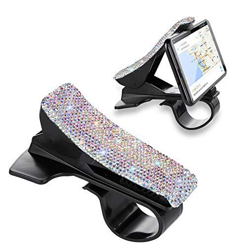 SAVORI Handy-Halterung für Auto, Bling Bling Strass Kristall Armaturenbrett Auto Clip Halterung für iPhone, Rutschfeste GPS-Halterung für Galaxy und 12,7-17,8 cm Smartphone oder GPS-Geräte, AB Color (Strass Iphone 5c-fällen)