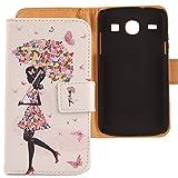 Lankashi PU Flip Leder Tasche Hülle Case Cover Schutz Handy Etui Skin Für Samsung Galaxy Xcover 2 S7710 Umbrella Girl Design