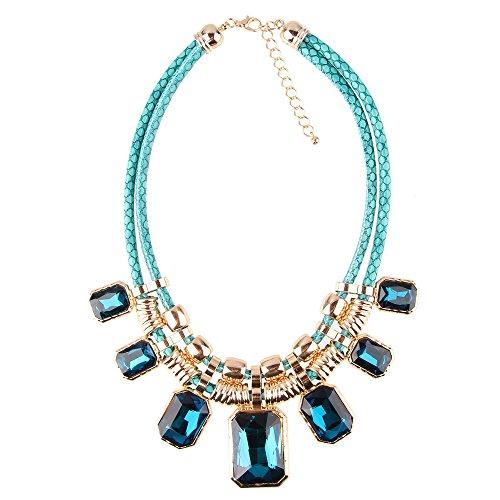 Beauty7 Collares Colgante Cuadrados Rectángulos Cadena Mujeres Pendientes Diamante Flores Borla Perla Azul Dorado Mixcolor Moda Elegancia Fieste Regalo