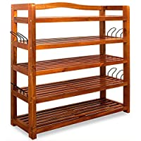 Shoe Rack Shelf Shoe Rack Shoe Shelf 5 Tier Acacia Hardwood Colonial Style Boot Hooks Various Models